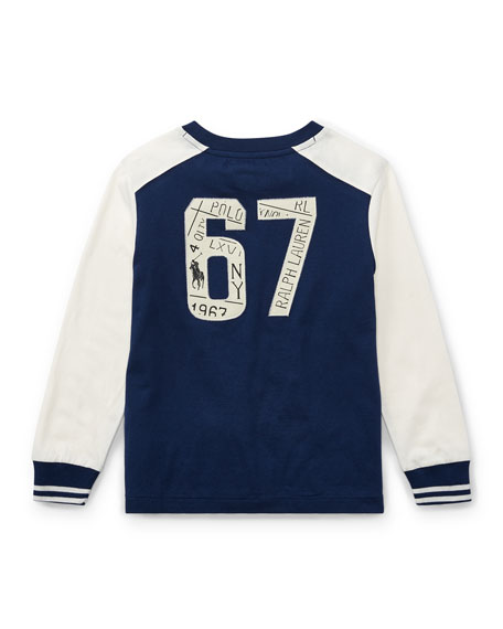 Two-Tone Logo Jersey T-Shirt, Size 2-4