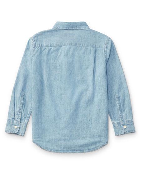 Long-Sleeve Chambray Work Shirt, Size 5-7