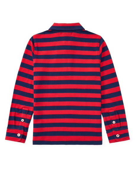 Long-Sleeve Striped Polo, Size 5-7