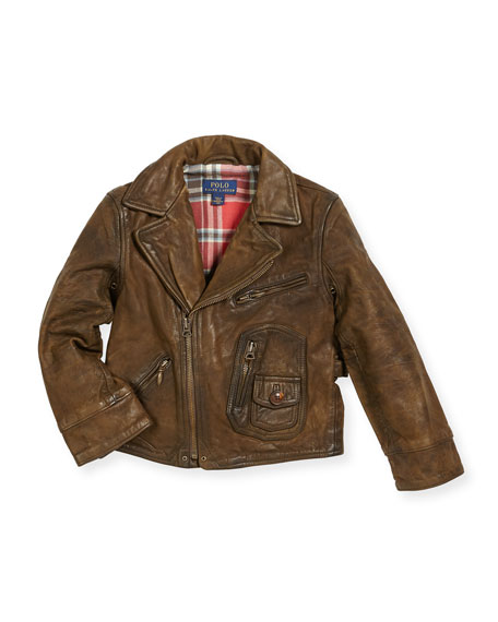 Leather Cafe Racer Jacket, Size 5-7