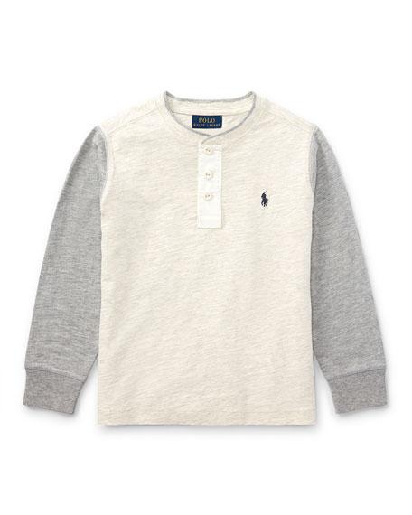 Slub Jersey Henley T-Shirt, Size 5-7