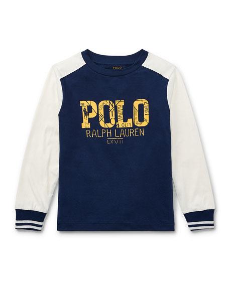 Two-Tone Logo Jersey T-Shirt, Size 5-7