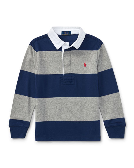 Jersey Rugby Striped Polo, Blue/Gray, Size 5-7