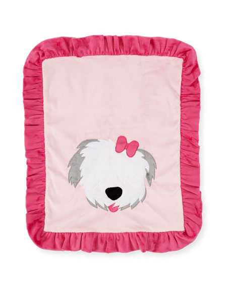 Pup Love Plush Baby Blanket, Pink