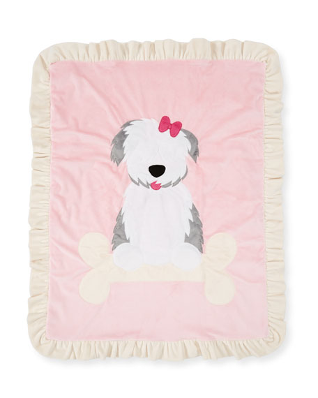 Boogie Baby Puppy Love Plush Baby Blanket, Pink