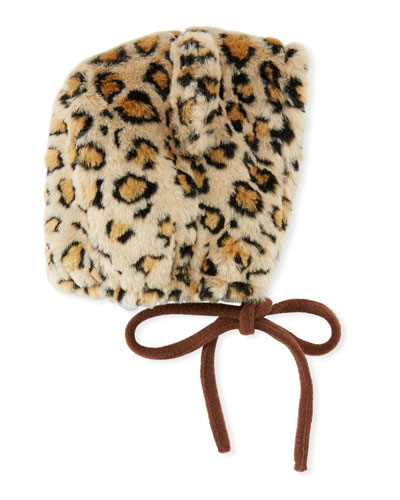 Kids' Faux-Fur Leopard Bonnet Hat