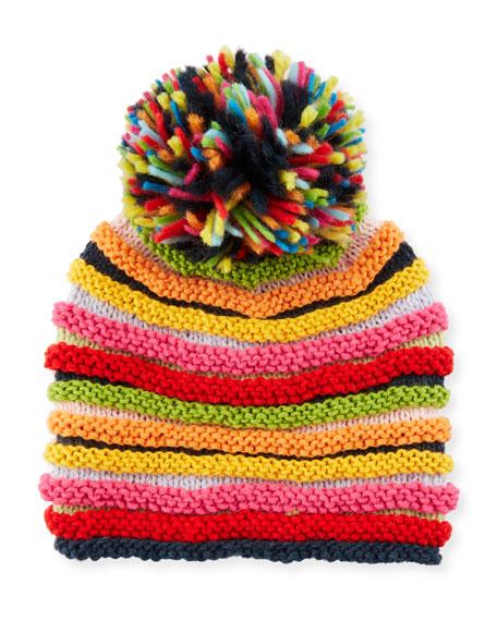 Stripe Knit Beanie Hat w/ Pompom, Multicolor