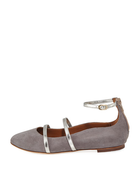 Robyn Suede Ankle-Strap Flat, Gray