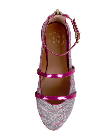 Robyn Glittered Ankle-Strap Flat, Pink, Toddler/Youth