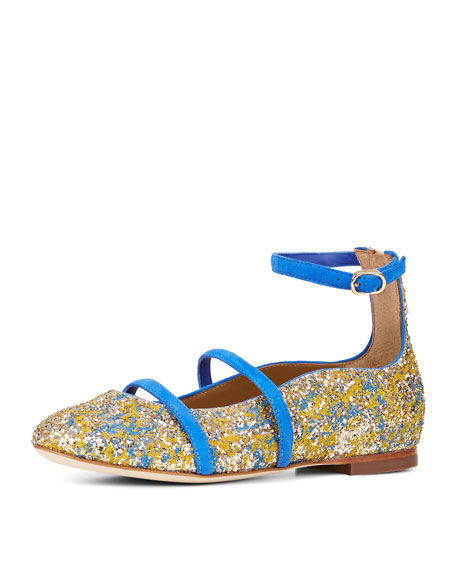 Robyn Glittered Ankle-Strap Flat, Toddler/Youth