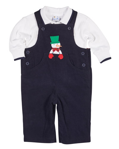 Snowman Overalls w/ Long-Sleeve Polo, Size 3-18 Months