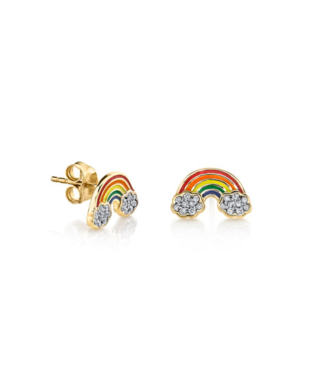 Diamond & Enamel Rainbow Stud Earrings