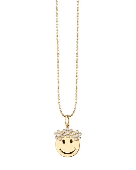 Happy Face Pendant Necklace with White Diamond Flower Crown