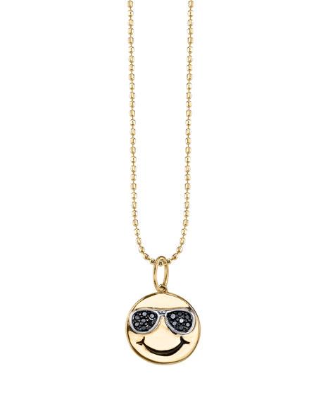 Happy Face Pendant Necklace with Black Diamond Sunglasses