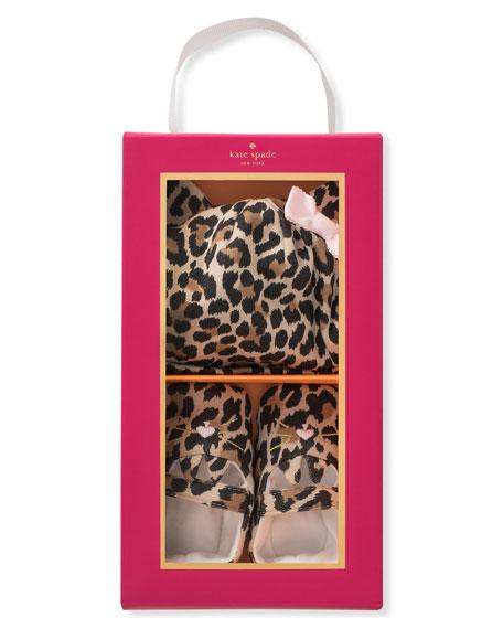 leopard-print baby hat & mary jane crib shoe set