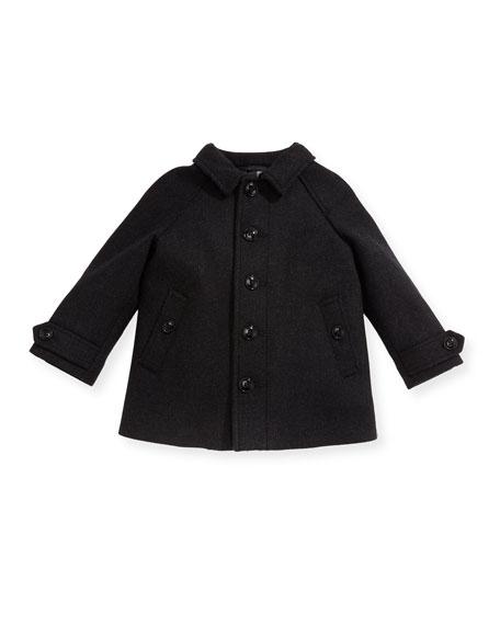 Bensham Wool-Blend Coat, Gray, Size 12M-3Y