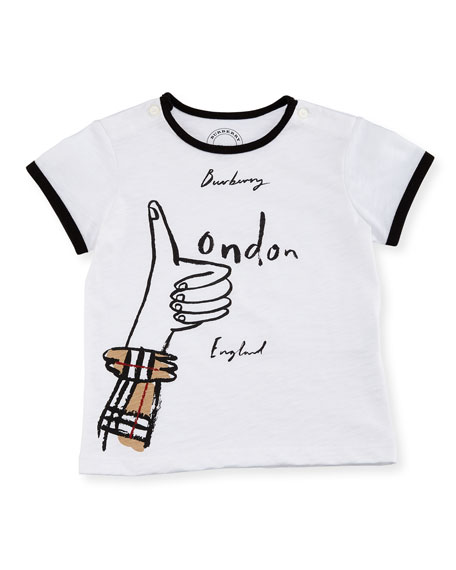 2578a14b Burberry Gregory Thumbs Up Logo Short-Sleeve T-Shirt, Size 6M-3Y