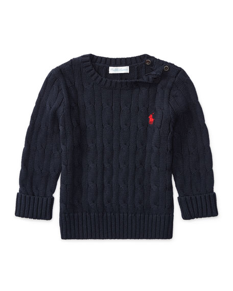 Cable-Knit Combed Cotton Sweater, Navy, Size 9-24 Months
