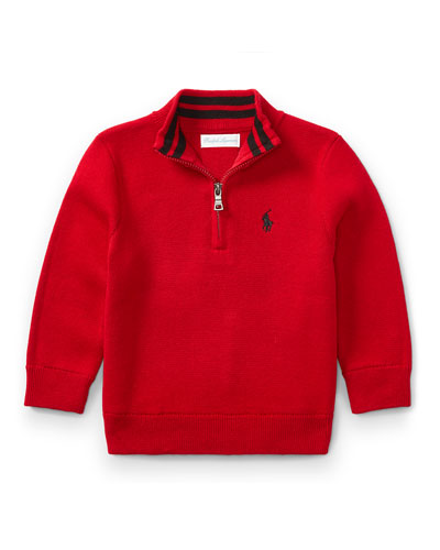 Half-Zip Cotton Pullover, Red, Size 9-24 Months