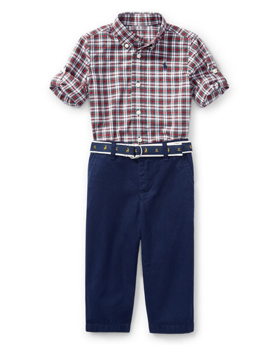 Poplin Tartan Shirt & Pants Set, Red Pattern, Size 9-24 Months