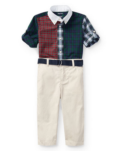 Poplin Tartan Shirt & Pants Set, Navy, Size 9-24 Months