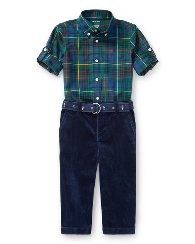 Poplin Tartan Shirt & Pants Set, Green, Size 9-24 Months