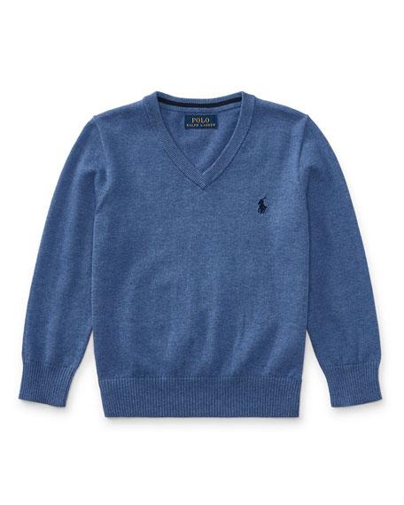 Long-Sleeve V-Neck Sweater, Blue, Size 2-4