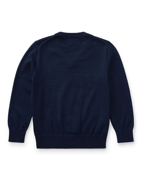 Long-Sleeve V-Neck Sweater, Navy, Size 2-4