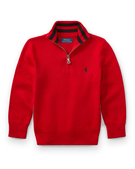 Half-Zip Cotton Pullover, Red, Size 2-4