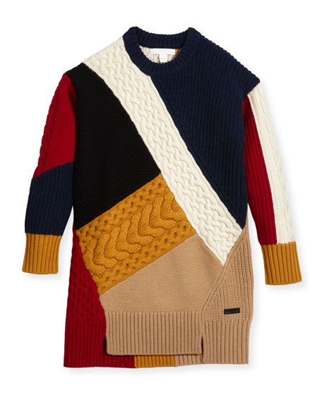 Claire Colorblock Mixed-Knit Sweater Dress, Size 4-14