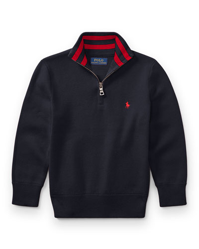 Half-Zip Cotton Pullover, Navy, Size 5-7