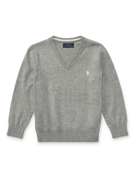 Long-Sleeve V-Neck Sweater, Gray, Size 5-7