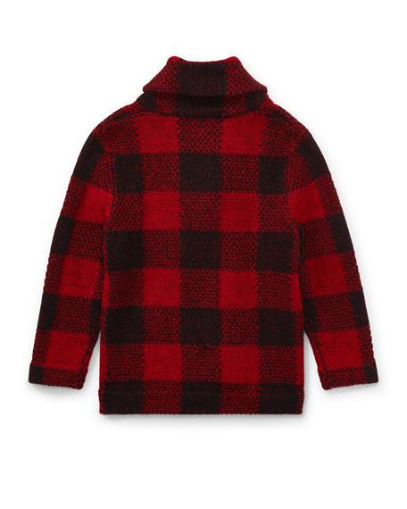 Wool-Blend Shawl Cardigan, Size 5-7