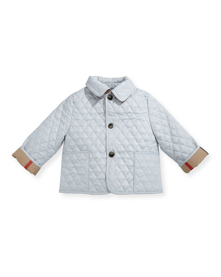 Burberry Colin Quilted Collared Jacket, Light Blue, Size