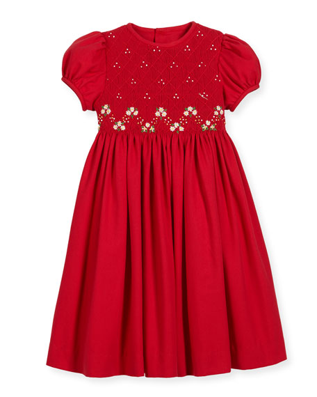 Smock Embroidered Dress, Size 2-6X