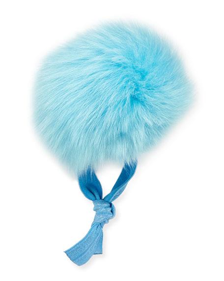 Fur Pompom Ponytail Holder, Turquoise