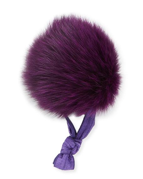Fur Pompom Ponytail Holder, Purple