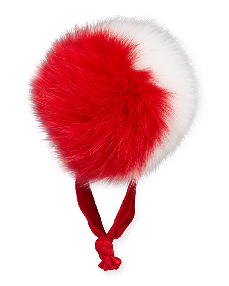 Bari Lynn Fur Two-Tone Pompom Ponytail Holder, Red/White