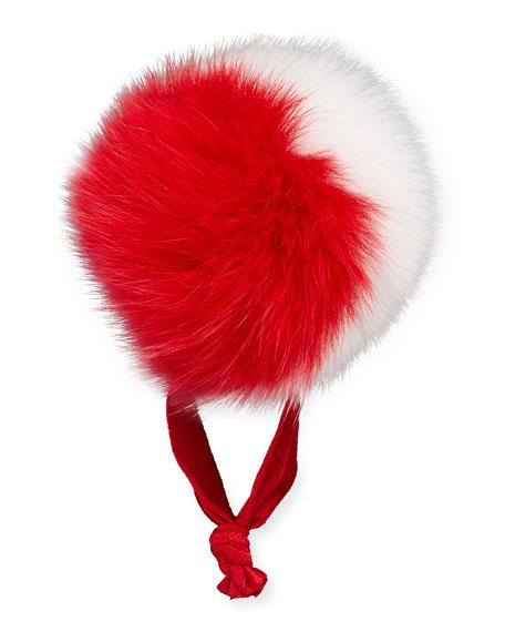 BARI LYNN Fur Two-Tone Pompom Ponytail Holder, Red/White