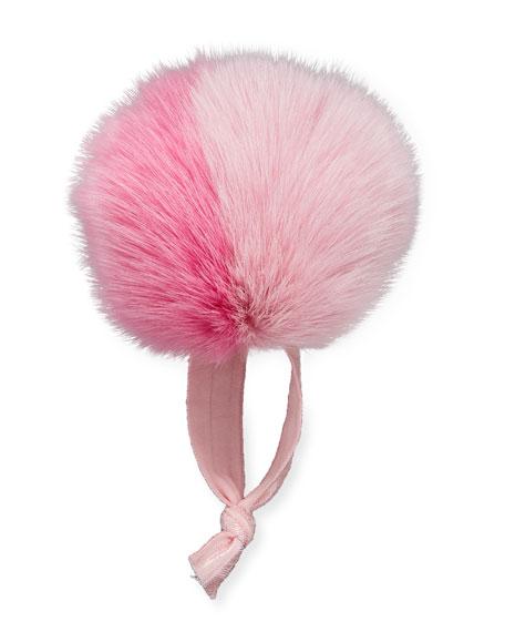 Fur Two-Tone Pompom Ponytail Holder, Pink