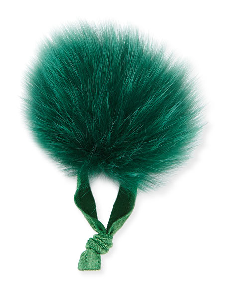 Fur Pompom Ponytail Holder, Emerald