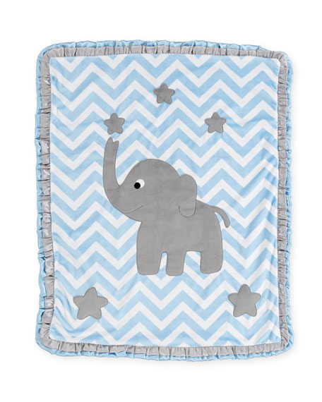 """Big Foot"" Elephant Blanket, Blue"