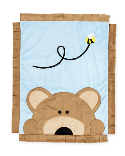Peek-a-Boo Bear Baby Blanket, Blue