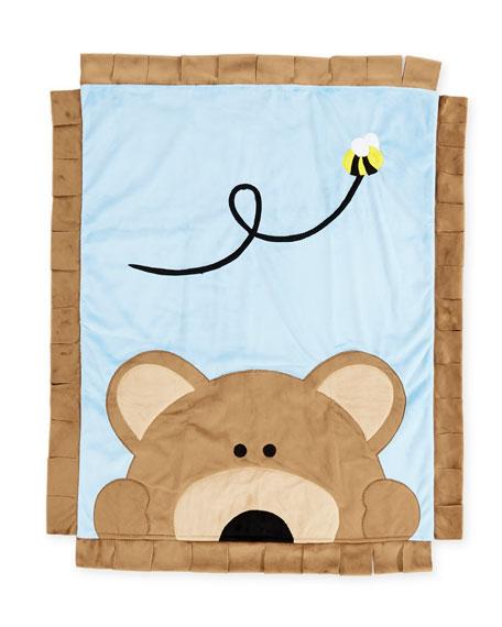 Boogie Baby Peek-a-Boo Bear Baby Blanket, Blue