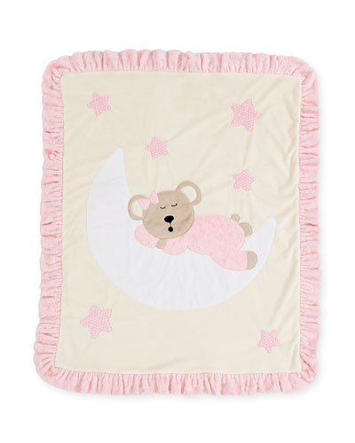 Goodnight Teddy Baby Blanket, Pink