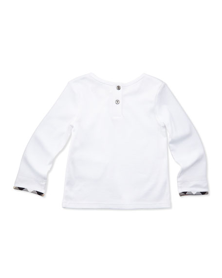 Mini-Tulisa Long-Sleeve Check-Detail Shirt, White, 3-18 Months