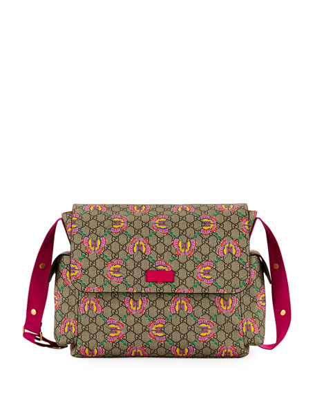 62604315a20a Gucci GG Supreme Canvas Butterfly Diaper Bag w/ Changing Pad