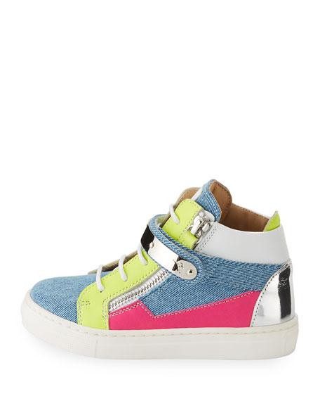 Ares Denim Patchwork Sneaker, Infant
