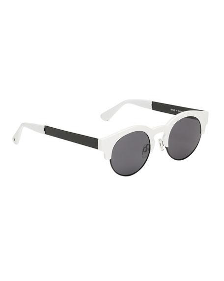 Molo Kids' So Fashion Round Sunglasses, Black/White