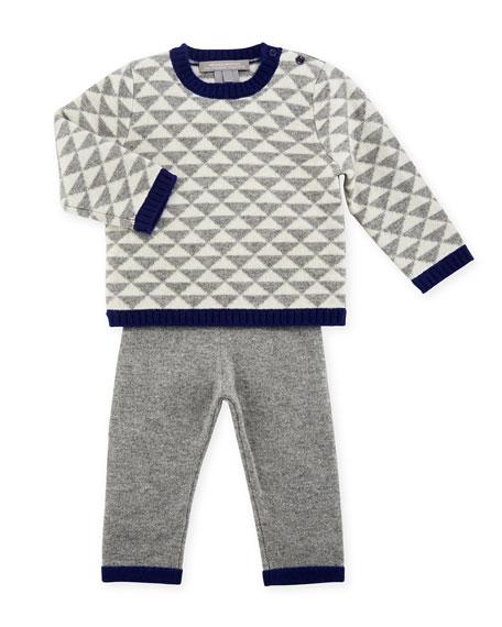 Sofia Cashmere Geo Triangles Crewneck Sweater w/ Pants,